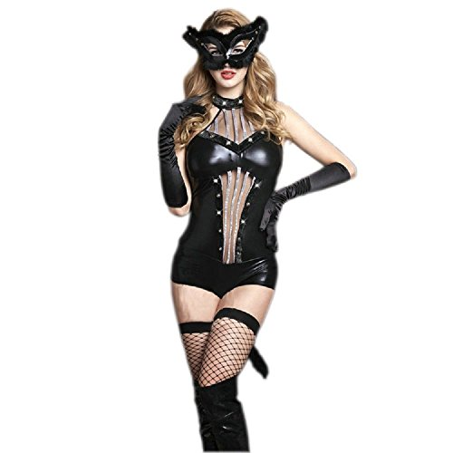 Cat Costume Sexy - Fancy Black Catwoman Outfit Halloween Costume Lingerie for Women