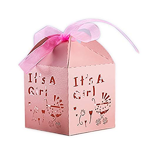 YOZATIA 50pcs Laser Cut Baby Carriage Favor Box Bomboniere Gift Candy Boxes Baby Shower Party Decoration,2.2''x2.2''x2.2'' (Pink)