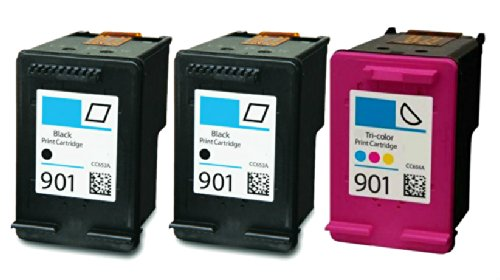 HouseOfToners Remanufactured Ink Cartridge Replacement for HP 901 (2 Black & 1 Color, - 901 Black