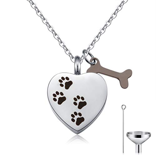 Cat Eye Jewels Memorial Ash Holder Urn Necklace Pet Print Heart Charm Cremation Jewelry with Engravable Bone Charm Funnel Kit Included