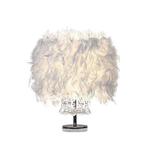 JAY D.L White Feather Table Lamp Heart Shape Vintage Elegant Desk Night Light Crystal Bedside Lampshade for Bedroom Living Room (Style 3)