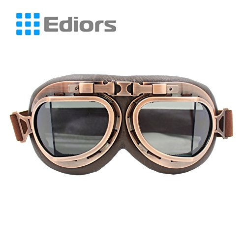 Ediors® Vintage Style WWII RAF Pilot Flying Motorcycle Biker Motocross Cruisers Sun UV Wind Eye Protect Helmet Goggles (Copper Frame, Smoke Lens)