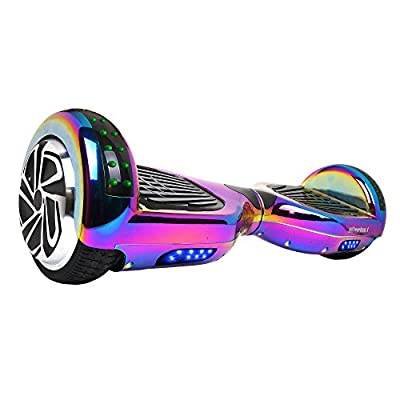 Hoverboard Two-Wheel Self Balancing Electric Scooter UL 2272 Certified, Metallic Chrome with Bluetooth Speaker and LED Light from Hoverheart