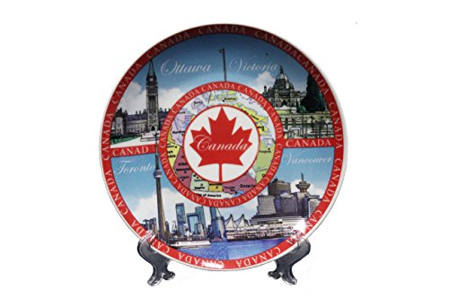 CANADA RED MAPLE LEAF , OTTAWA , VICTORIA , TORONTO VANCOUVER ... Ceramic BIG Souvenir PLATE With Stand..Size : 8