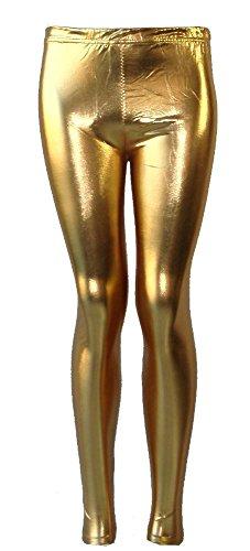 Effet Enfants Filles Brillant Or Neuf Femme Métallique Mouillé De Pantalon Fête 21fashion Foil Disco Pour Legging gUtvwnqn5