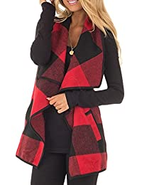Women Vintage Plaid Wide Lapel Cardigan Waistcoat Vest Outerwear