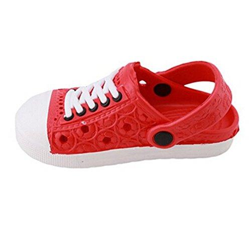 Hausschuhe Size in Gartenschuhe Pantoletten Kinder Kinder Bade Schuhe HENGSONG Clog Unisex Asian Rot Sandalen Größen 29 Versch Eva Clogs wAIaE