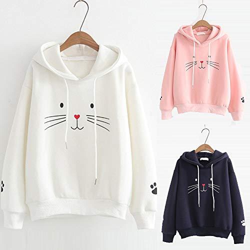 Sweatshirt Fashion Jumper Pullover Womens Casual Blouse Print Morwind White Sleeve Long AqX7w7