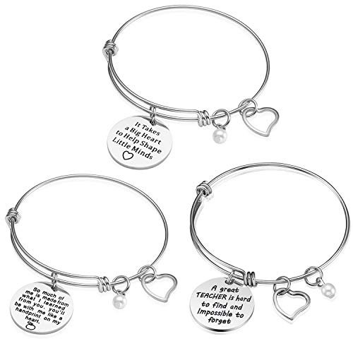 Teacher Appreciation Gift Idea - 3PCS Stainless Steel Expendable Inspirational Bangle Bracelet Set, Best Teacher Jewelry, Thank You Gifts for Women, Christmas Birthday (3PCS)