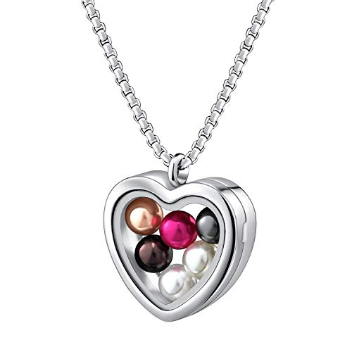 Set Floating Heart Pendant - Pearl Cage Necklace Pendant Large Pick A Pearl Holder Stainless Steel Heart Love Glass Floating Locket Charms Jewelry Gift Set with 6pcs Round Wish Pearls of 7-8 mm inside for Women Girls (Heart)