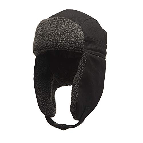 Heat Edge Warm Sherpa Trapper Hat with Fleece Lining & Ear Flaps - Aviator Russian Ushanka Hat (Dark Black, Size ()