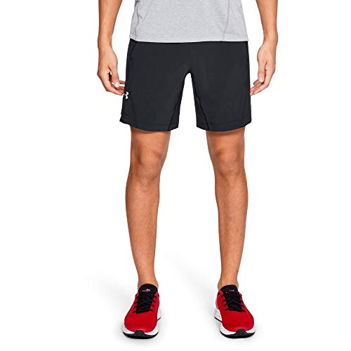 Under Armour Men's Speedpocket 8'' Linerless Shorts, Black (001)/Reflective, Large by Under Armour (Image #1)