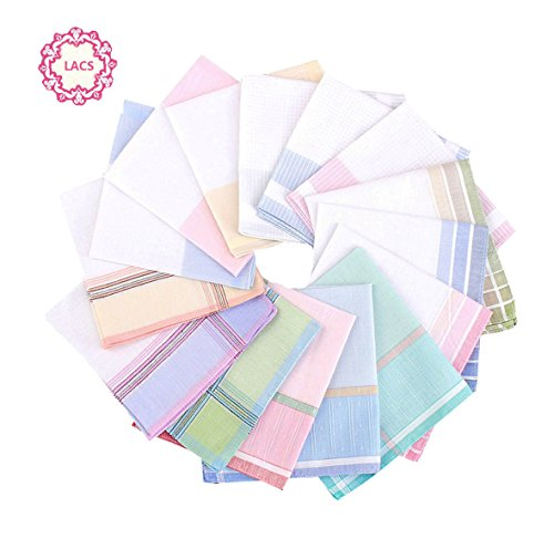 en Stripe Handkerchiefs Wedding Party Cotton Hankies 12PCS (Monogrammed Wedding Hankie)