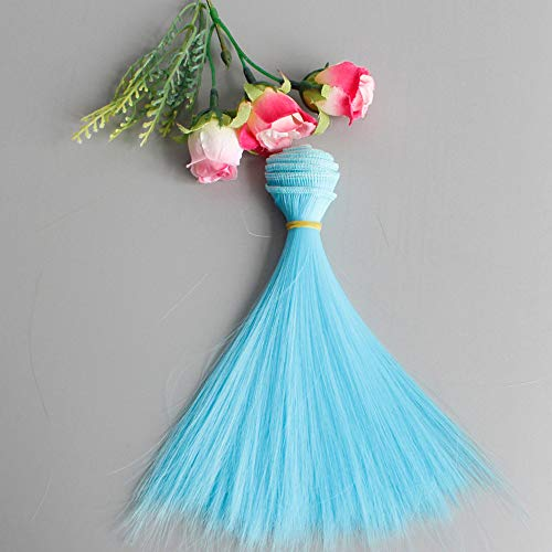 - Maikouhai 1Pcs Doll Hair, Fashion 15X106CM Wholesale Straight Hair Styling Training Head Doll Head for DIY / BJD Wig Doll - Girls' Dollhouse Decor, Silk (Blue)