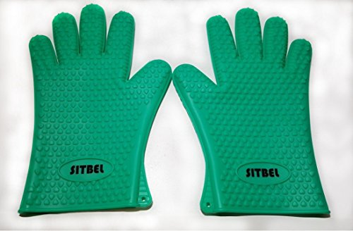 SITBEL - Cooking Gloves - Best BBQ Silicone Heat Resistant Oven Mitts - For Men & Women - Protect Your Hands