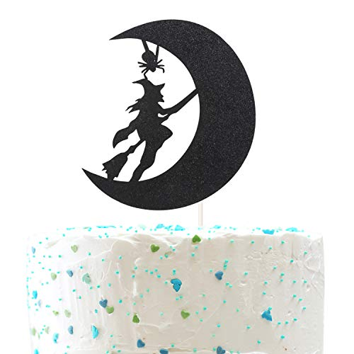 (Witch and Moon Halloween Cake topper,Halloween Wreath Ghost Happy Halloween Party Decorations( Double Sided Gold Glitter ))