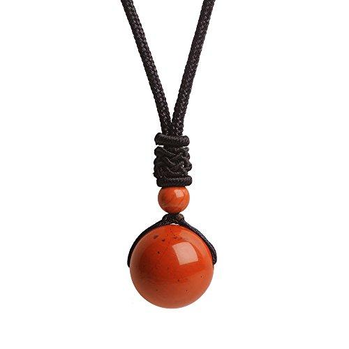- iSTONE Unisex Genuine Round Gemstone Beads Pendant Necklace Black Rope Chain 25 inch (Red Jasper)