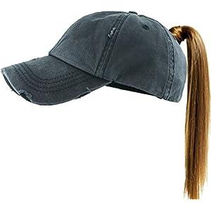 7b509b561 All Hat Ponytail Vintage Sports Glitter Messy High Bun Hat Ponycaps  Adjustable Cotton and Mesh Trucker Baseball Cap