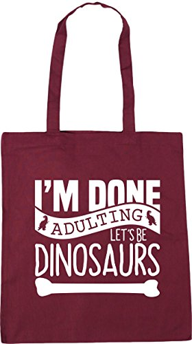 HippoWarehouse Burgundy 10 Shopping Dinosaurs Let's Tote I'm Beach litres Bag Adulting Done Gym Be 42cm x38cm 1Uq1prZ