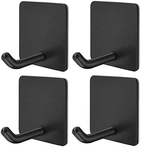 Closet-Black Bathrooms 4 Pack YAKAON Heavy Duty Adhesive Hooks, Waterproof Rustproof Oil Proof for Kitchen Doors Durable 304 Stainless Steel Wall Hangers Office