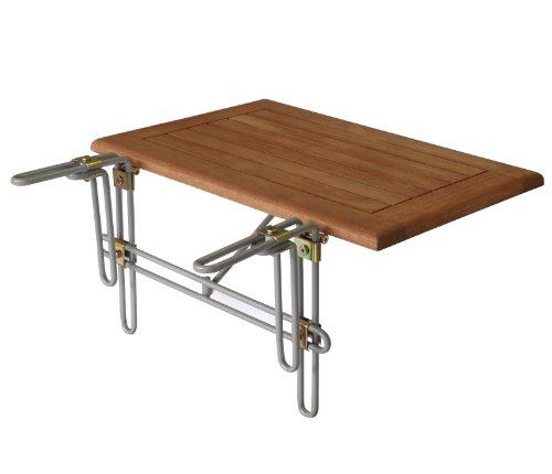 Balkonhängetisch 60x40cm, Metallhalterung + Eukalyptus Holz Platte, FSC®-zertifiziert