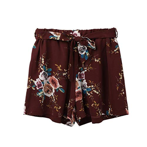 Women Shorts Leggings Sexy Hot Pants Summer Casual Print Casual Belt Loose Hot Pants Lady Summer Beach (S, Wine Red)