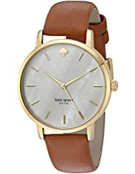 kate spade new york Womens Metro Quartz Stainless Steel and Leather Casual Watch, Color:Brown (Model: KSW1142)