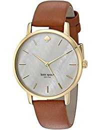 Women's 'Metro' Quartz Stainless Steel and Leather Casual Watch, Color:Brown (Model: KSW1142)