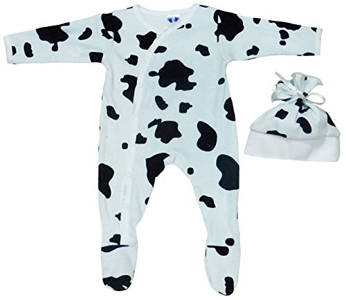 TenTeeTo Baby Footies Pajamas Unisex Neutral for Infant Light Blue - Black (0-3 Months, Cow Print Asymmetrical Snap Front)