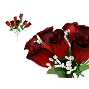 BalsaCircle 252 Velvet Rose Buds - 36 Bushes - Artificial Flowers Wedding Party Centerpieces Arrangements Bouquets Supplies 43