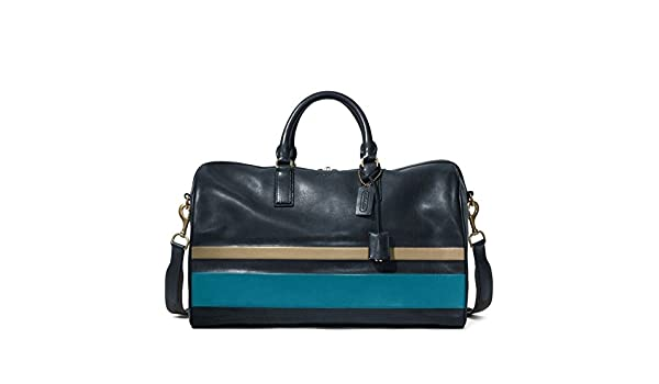 9e9bb1a34b Amazon.com  Coach Men s Bleecker Debossed Stripe Leather Boston Duffle  Travel Bag 93202 Blue Navy Ocean  Shoes