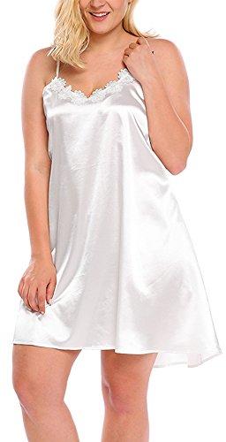 Sweetnight Women Plus Size L_5XL Satin Chemise Babydoll Lingerie Sexy Sleepwear (XL, White)