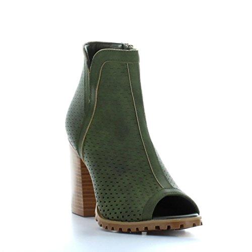- Seven7 Footwear Women's Ashbury Peep Toe Chunky Heel Shoe Olive 8