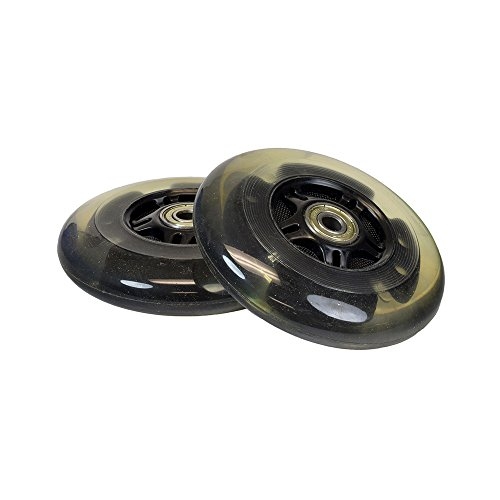 Black 100 mm (98 mm Replacement) Razor Light-Up Flashing Kick Scooter Wheel with Bearings (Set of 2)