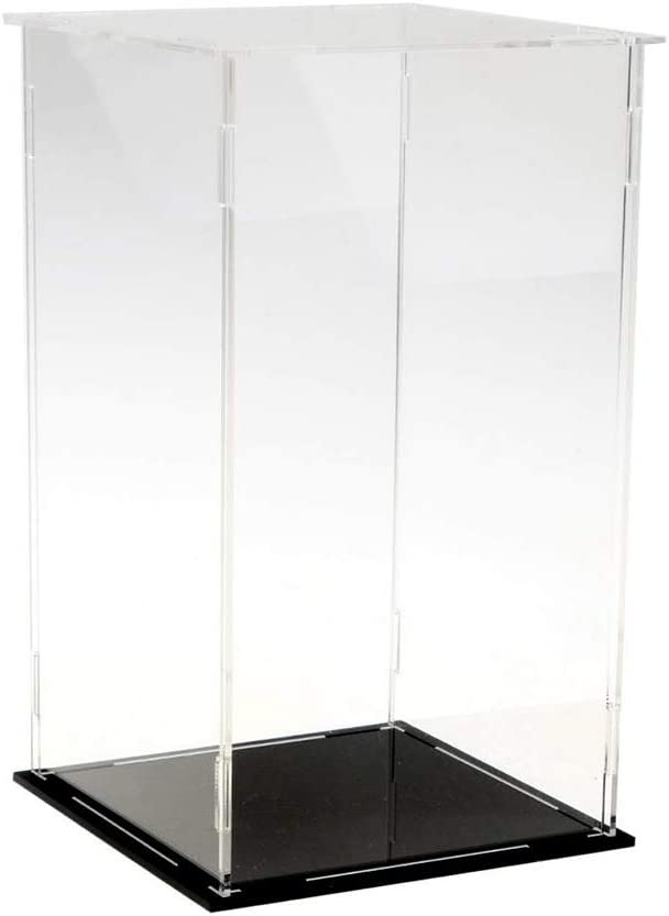 Lanscoe Clear Acrylic Display Case Countertop Box Cube Organizer Stand Dustproof Protection Showcase for Action Figures/Toys/Collectibles (20x20x30cm; 8x8x12 inch)