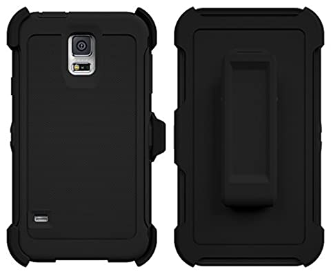 ToughBox Armor Series Shock Proof Holster and Belt Clip Case with Built in Screen Protector for Samsung Galaxy S5 - (Best Samsung S5 Case)