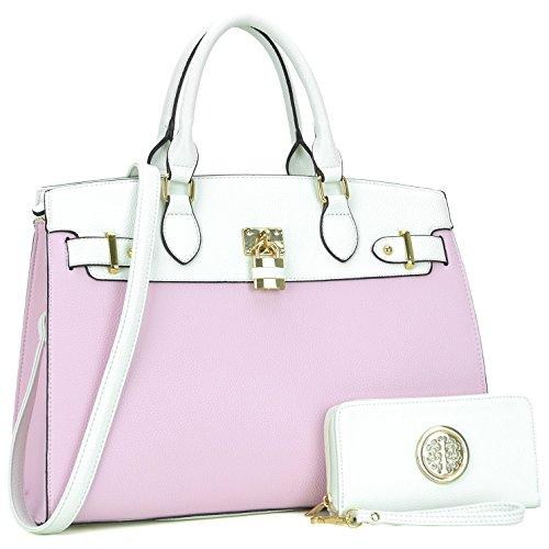 Multi Pockets Satchel for Women, Large Designer Lady Purses Laptop Tablet Tote Work Briefcase (FN-03-6876-W-PK/WT)