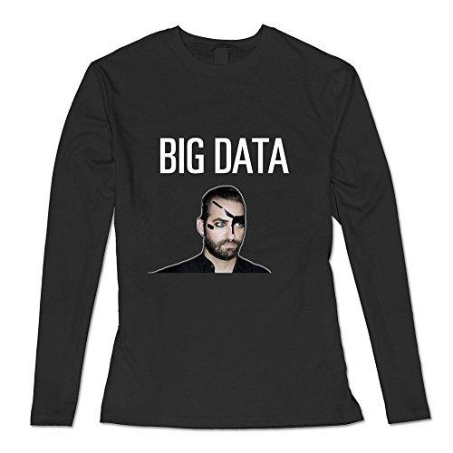 GYKU Women's Big Data Long Sleeve T-Shirt Black US Size M,100% Organic Cotton (Big Frank Halloween)