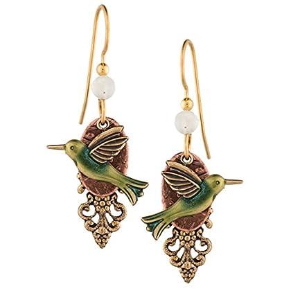Silver Forest Hummingbird Dangle 18K Gold-Pla...