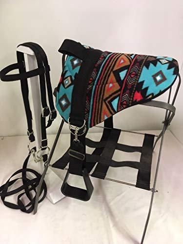 Party Ponies Miniature Horse/SM Pony Bareback Saddle PAD Set - Turquoise Indian Native Set