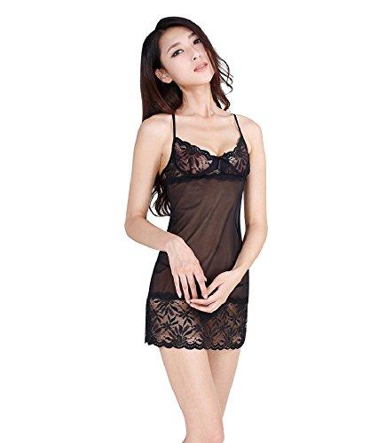 Shangrui Mujeres Ropa de Encaje Pijama Elastic ultra-delgado(FZ1159) Negro