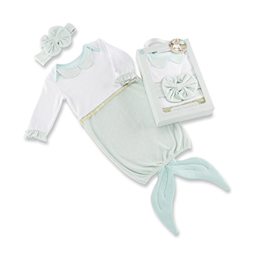 Baby Aspen Simply Enchanted Mermaid 2 Piece Layette Set, White/Mint/Gold, 0-6 Months
