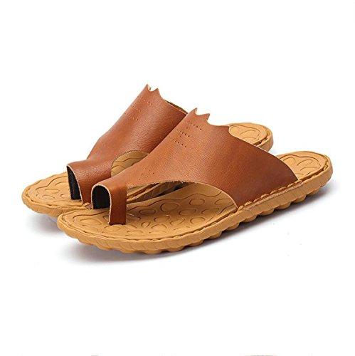 Tiras Chanclas Hombre Playa Sandalias De Peso Brown Cuero Verano Lxxamens Real Zapatilla Ligero qaIP60w