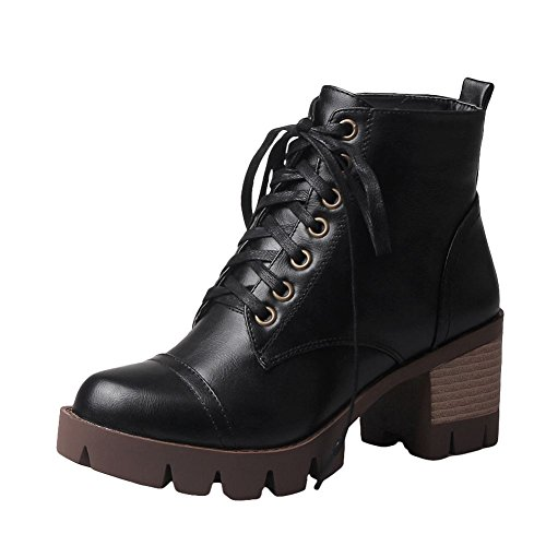 Latasa Womens Lace up Chunky Heels Ankle Oxfords Boots Black iIQV5