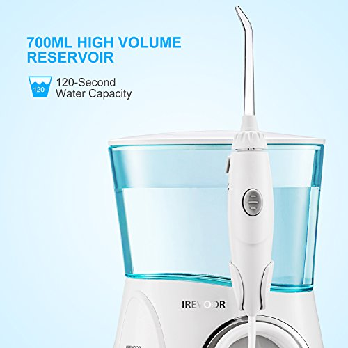 Aquarius Water Flosser IREVOOR Professional Dental Water Flosser Energy Saved 12 watt 110-240V Stepless Speed Change Oral Irrigator with 4 Jet Tips 1 Tongue Scraper for Family by IreVoor (Image #2)