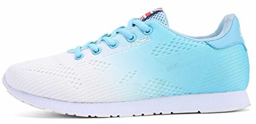 GFONE Women's Mesh Running Trainers Jogging Walking Sneakers Casual Shoes Lace Up Breathable Blue x2wu8U