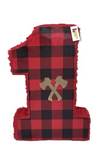 APINATA4U Lumberjack Plaid Pinata Red Color Hatches -