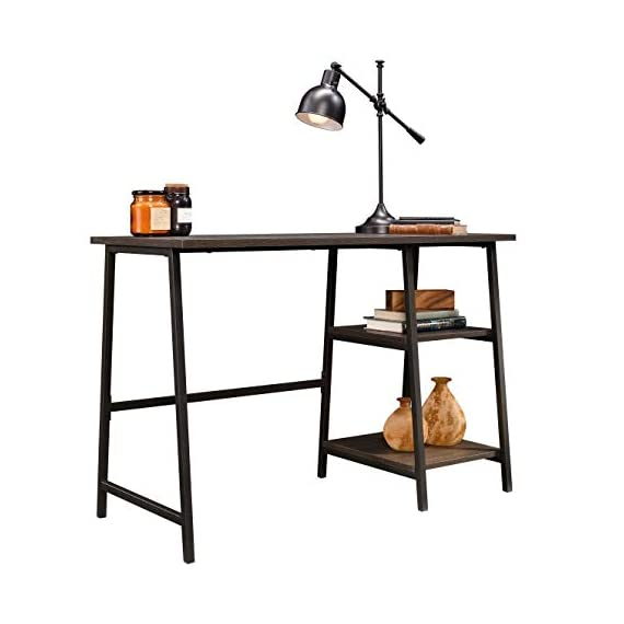 Sauder North Avenue Pedestal Desk, Smoked Oak finish - Spacious work area for laptop and printer Two lower shelves for storage of books, paper, etc Finished on all sides for versatile placement anywhere in your home - writing-desks, living-room-furniture, living-room - 41 ct2oLAfL. SS570  -
