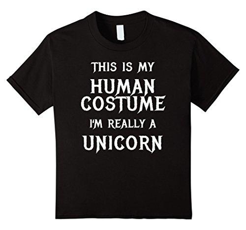 Kids Unicorn Halloween Costume Shirt Easy Funny for Girls Women 12 Black