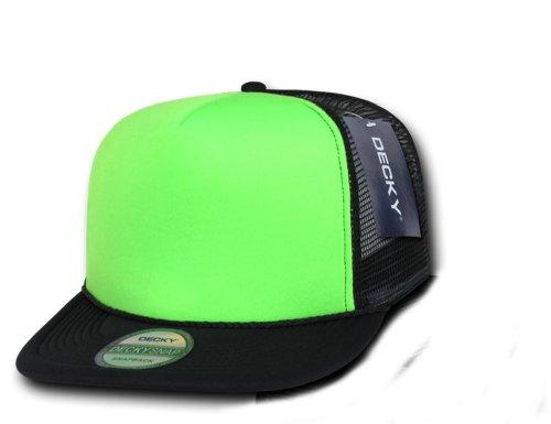 DECKY Flat Bill Neon Trucker Caps 12 Pieces Whole Sale (Black / Green) -